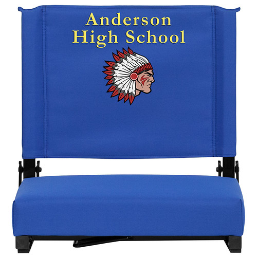 Embroidered Grandstand Comfort Seats by Flash with Ultra-Padded Seat in Blue