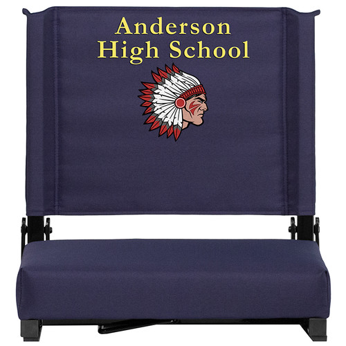 Embroidered Grandstand Comfort Seats by Flash with Ultra-Padded Seat in Navy