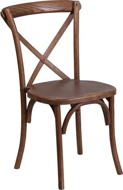 TYCOON Series Stackable Pecan Wood Cross Back Chair
