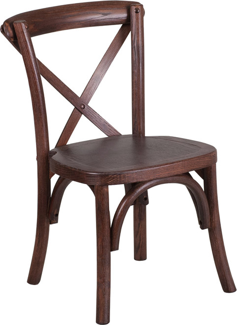 TYCOON Series Stackable Kids Mahogany Wood Cross Back Chair
