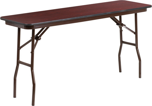 18'' x 60'' Rectangular High Pressure Mahogany Laminate Folding Training Table