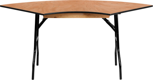 5.5 ft. x 2.5 ft. Serpentine Wood Folding Banquet Table
