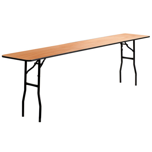 18'' x 96'' Rectangular Wood Folding Training / Seminar Table with Smooth Clear Coated Finished Top