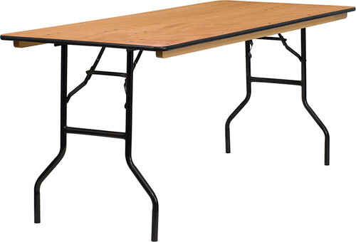 30'' x 72'' Rectangular Wood Folding Banquet Table with Clear Coated Finished Top