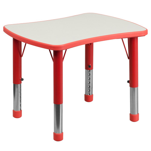 21.875''W x 26.625''L Rectangular Red Plastic Height Adjustable Activity Table with Grey Top