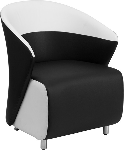 Black Leather Curved Barrel Back Lounge Chair with Melrose White Detailing