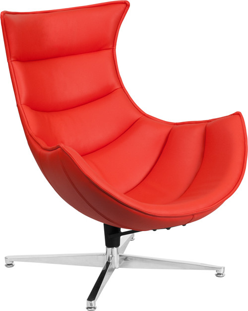 Red Leather Swivel Cocoon Chair