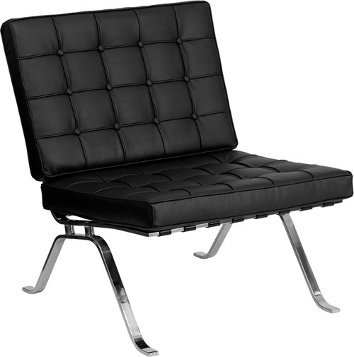 TYCOON Flash Series Black Leather Lounge Chair with Curved Legs