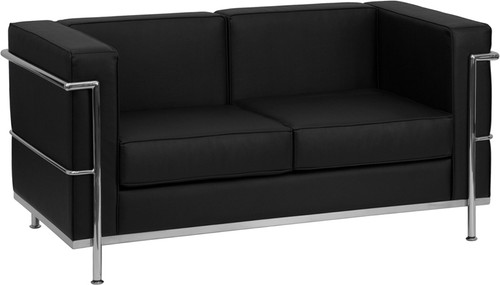 TYCOON Regal Series Contemporary Black Leather Loveseat with Encasing Frame
