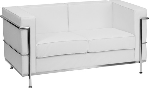 TYCOON Regal Series Contemporary Melrose White Leather Loveseat with Encasing Frame