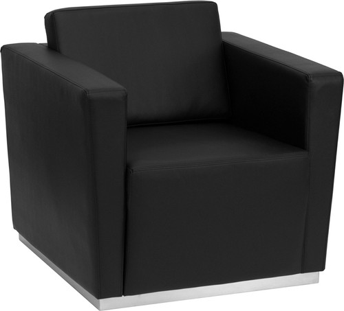 TYCOON Trinity Series Contemporary Black Leather Chair with Stainless Steel Base