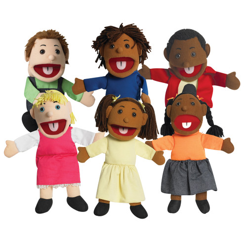 """15"""" Ethnic Children Puppets with Movable Mouths - Set of 6"""