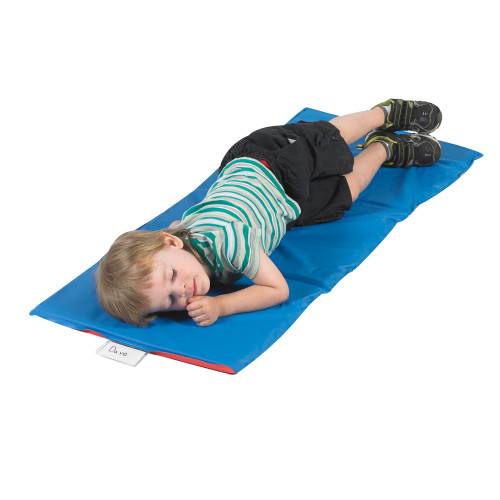 Economy Infection Control® Folding Rest Mat - Red/Blue 3 Section