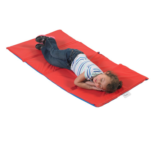 "1"" Infection Control® Folding Mat - Red/Blue 4 Sections"