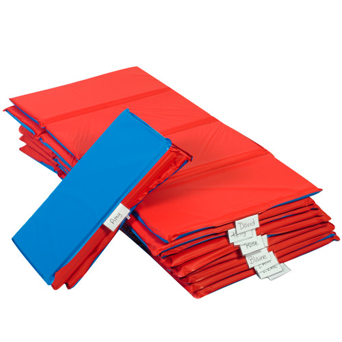 "1"" Infection Control® Folding Mat - Red/Blue 4 Section - 10 Pack"