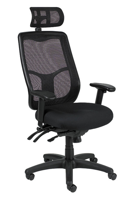 Eurotech Apollo MFHB9SL High Multifunction Mesh Back and Fabric Seat Black Chair
