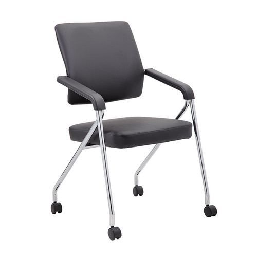 Boss Black Caressoft Plus Training Chair With Chrome Frame,2 In A Box