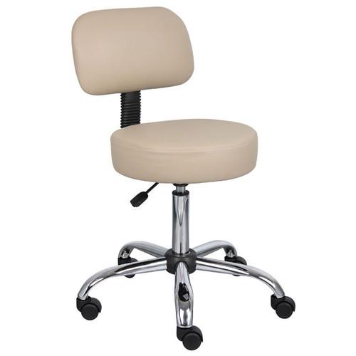 Boss Beige Caressoft Medical Stool W/ Back Cushion