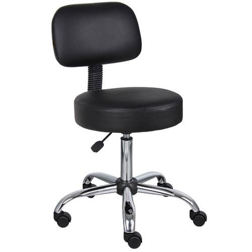 Boss Black Caressoft Medical Stool W/ Back Cushion
