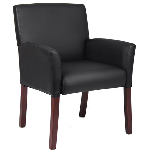 Boss Box Arm guest, accent or dining chair W/Mahogany Finish B619
