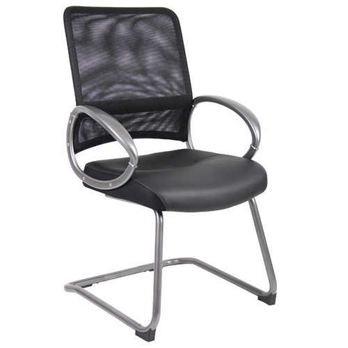 Boss Mesh Back W/ Pewter Finish Guest Chair Black