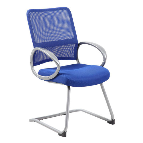 Boss Mesh Back W/ Pewter Finish Guest Chair Blue