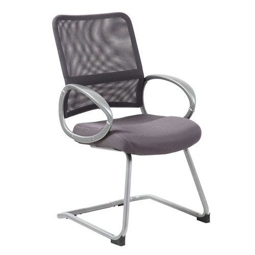 Boss Mesh Back W/ Pewter Finish Guest Chair Charcoal Grey