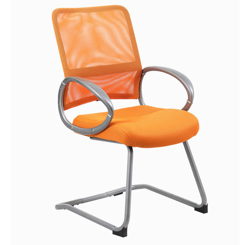 Boss Mesh Back W/ Pewter Finish Guest Chair Orange