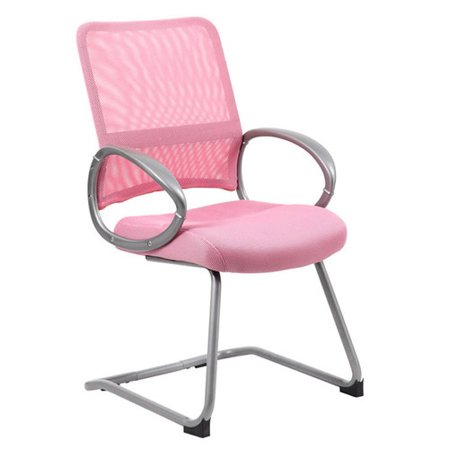 Boss Mesh Back W/ Pewter Finish Guest Chair Pink