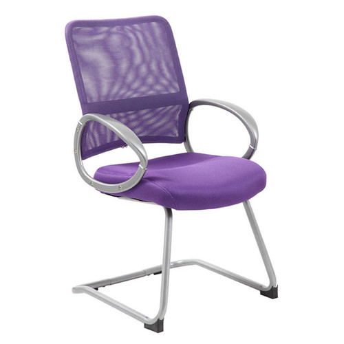 Boss Mesh Back W/ Pewter Finish Guest Chair Purple