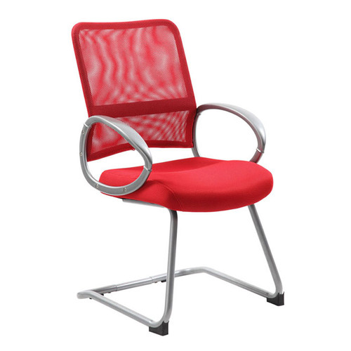 Boss Mesh Back W/ Pewter Finish Guest Chair Red
