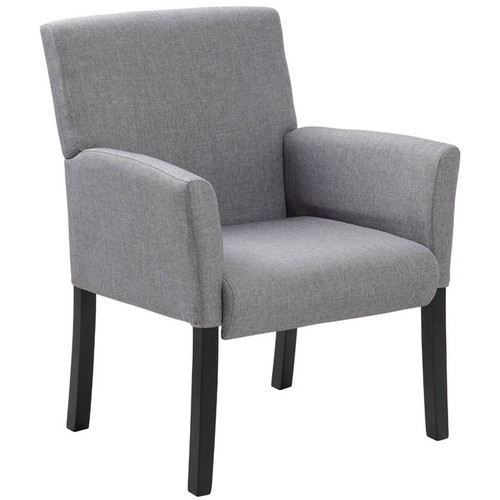 Boss Box Arm guest, accent or dining chair Grey W/Black Base