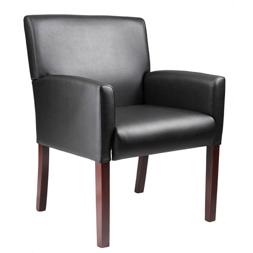 Boss Box Arm guest, accent or dining chair W/Mahogany Finish B629M