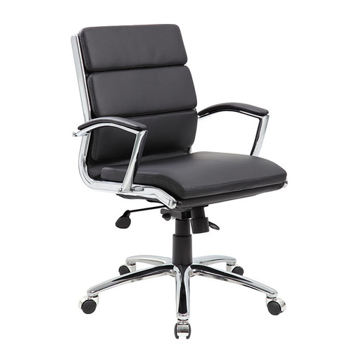Boss Executive CaressoftPlus™ Chair with Metal Chrome Finish - Mid Back Black