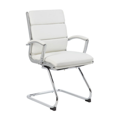 Boss Executive CaressoftPlus™ Chair with Metal Chrome Finish - Guest Chair White