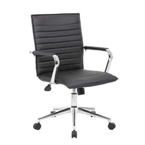 Boss Black Vinyl Hospitality Chair