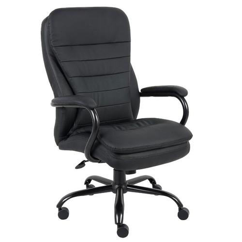 Boss Heavy Duty Double Plush CaressoftPlus Chair - 400 Lbs. Black