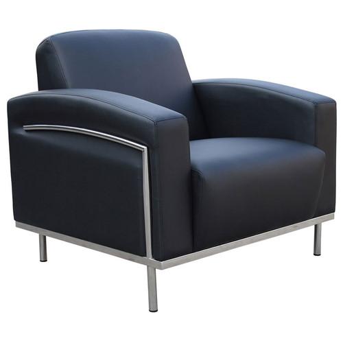 Boss Black CaressoftPlus Lounge Chair W/Chrome Frame
