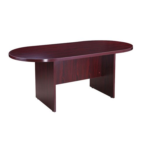 Boss 71W X 35D Race Track Conference Table, Mahogany