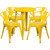 24'' Round Yellow Metal Indoor-Outdoor Table Set with 4 Arm Chairs