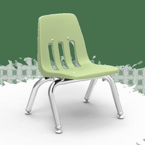 "9000 Series 10"" Classroom Chair, Green Apple Bucket, Chrome Frame, Preschool - 4 Pack"