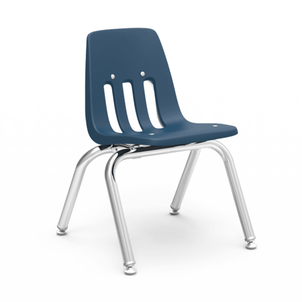 "9000 Series 12"" Classroom Chair, Navy Bucket, Chrome Frame, Preschool - 1st Grade - Set of 4 Chairs"