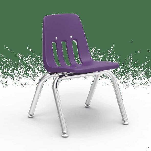 "9000 Series 12"" Classroom Chair, Purple Iris Bucket, Chrome Frame, Preschool - 1st Grade - Set of 4 Chairs"
