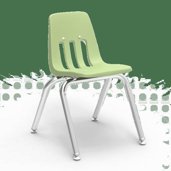 """9000 Series 14"""" Classroom Chair, Green Apple Bucket, Chrome Frame, Kindergarten - 2nd Grade - Set of 4 Chairs"""