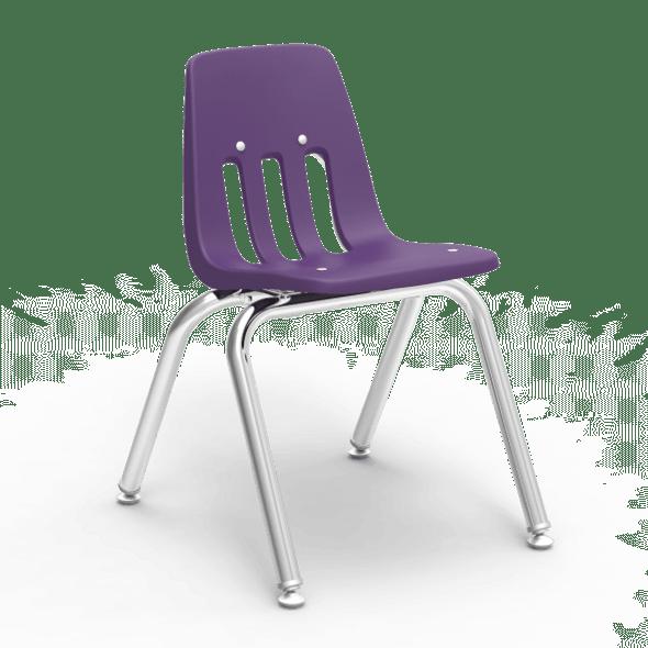 "9000 Series 14"" Classroom Chair, Purple Iris Bucket, Chrome Frame, Kindergarten - 2nd Grade - Set of 4 Chairs"