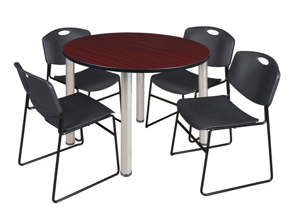 """Kee 48"""" Round Breakroom Table- Mahogany/ Chrome & 4 Zeng Stack Chairs- Black"""