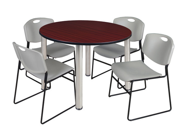 """Kee 48"""" Round Breakroom Table- Mahogany/ Chrome & 4 Zeng Stack Chairs- Grey"""