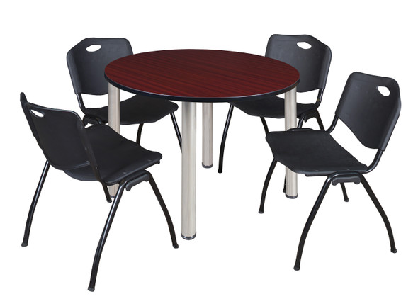 """Kee 48"""" Round Breakroom Table- Mahogany/ Chrome & 4 'M' Stack Chairs- Black"""