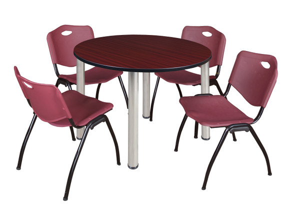 """Kee 48"""" Round Breakroom Table- Mahogany/ Chrome & 4 'M' Stack Chairs- Burgundy"""