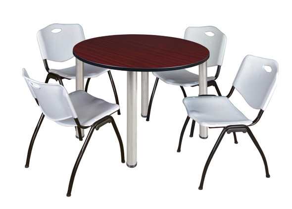 """Kee 48"""" Round Breakroom Table- Mahogany/ Chrome & 4 'M' Stack Chairs- Grey"""